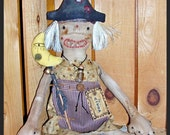Primitive Grungy Folk Art Whimsy Halloween Witch Hag Doll Cinda with Moon Stick Witch Is Why