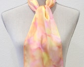 "Handpainted Silk Scarf. Hand Dyed Scarf. Peach and Yellow scarf. Medium 8""x52""."