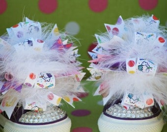 Birthday Cupcake Shoe Bows or Pigtail bows