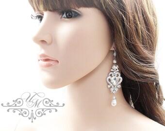 Wedding Jewelry Wedding Earrings Bridal Earrings Bridesmaids earrings Rhinestone earrings Dangle Earrings Pearl Earrings Vintage - NIKI
