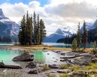 Nature landscape photography, Maligne Lake and Spirit Island, Jasper National Park, Canada