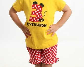 Mouse Birthday Number, Personalized Top in Red-White Dot with Coordinating Ruffle Shorts