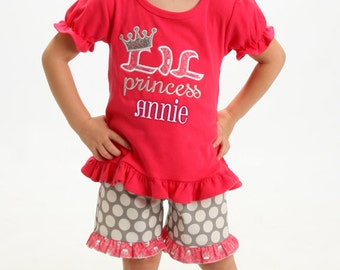 Ruffle Shorts and Lil Princess Fuchsia Shirt with Embroidered Name