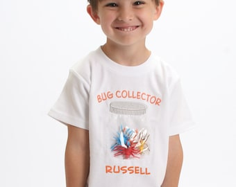Boy Bug Collector Shirt with Plastic Bugs and Embroidered Name