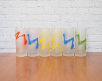 Retro Barware Set of Six Colorful Tumblers / Zig Zag Spray Paint Frosted Glasses by Ocean Glassware