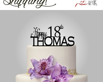 18th Birthday Cake Topper Personalized Name Cake Topper - Custom Cake Toppers