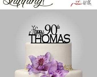 90th Birthday Cake Topper Personalized Name Cake Topper - Custom Cake Toppers