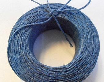 45 yd 3 Ply WAXED Linen - DENIM BLUE Bead Cord - Thread  .4mm dia Spool