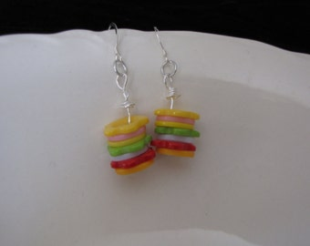 Cute button earrings, stacked.  Can custom make for you with new or old earrings.  Very cute on kids.