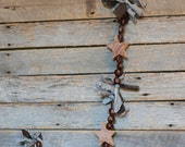 americana country garland,  wooden barn star garland, nut garland,rustic fabric scrap garland