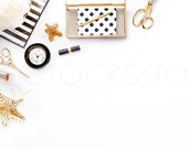 Styled Stock Photography | Black, White, and Gold Styled Desktop | Product Photography | Digital Image