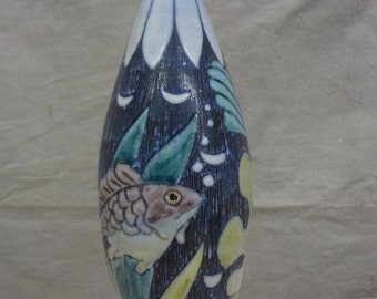 Swedish Sgraffito Mid-century Alms Keramik Fish Lamp
