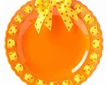 Orange Round Plate ~ Prissy Plate ~ Ribbon Plate Personalized Gift Halloween Decor Home Decor Orange and Yellow Plate