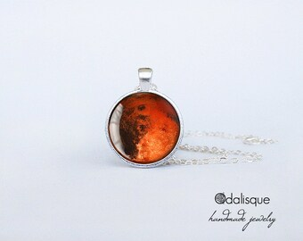 Mars Necklace Mars Pendant Red Planet Jewelry Birthday Gift Astronomy Outer Space Planet Jewelry Silver CS84