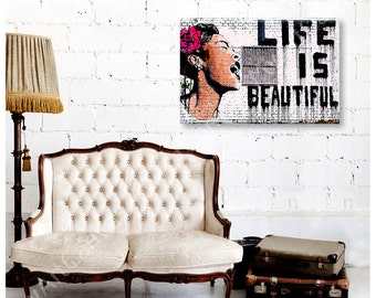 "30% OFF! Canvas Print ""Life is Beautiful"" By Banksy print reproduction fine art wall art decor Artwork photo Repro Giclee gallery"