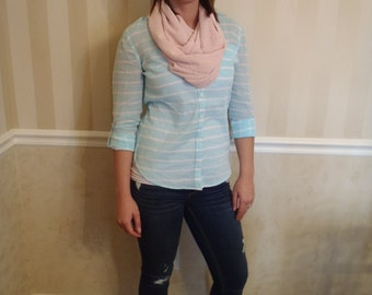 Pink Eyelet double layer Infinity Scarf