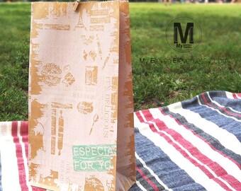 100 Vintage Style Kraft Paper Bags_Shabby Chic Vintage wedding favor bags _Merchandise bags_Flat Bottom bags