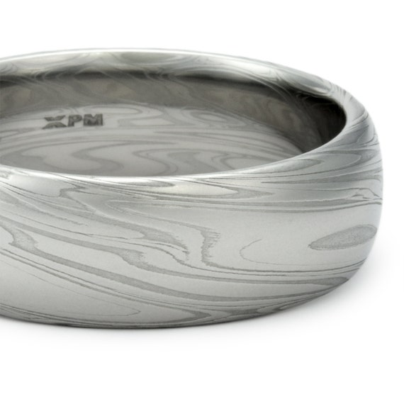 damascus steel mens wedding band domed ring by