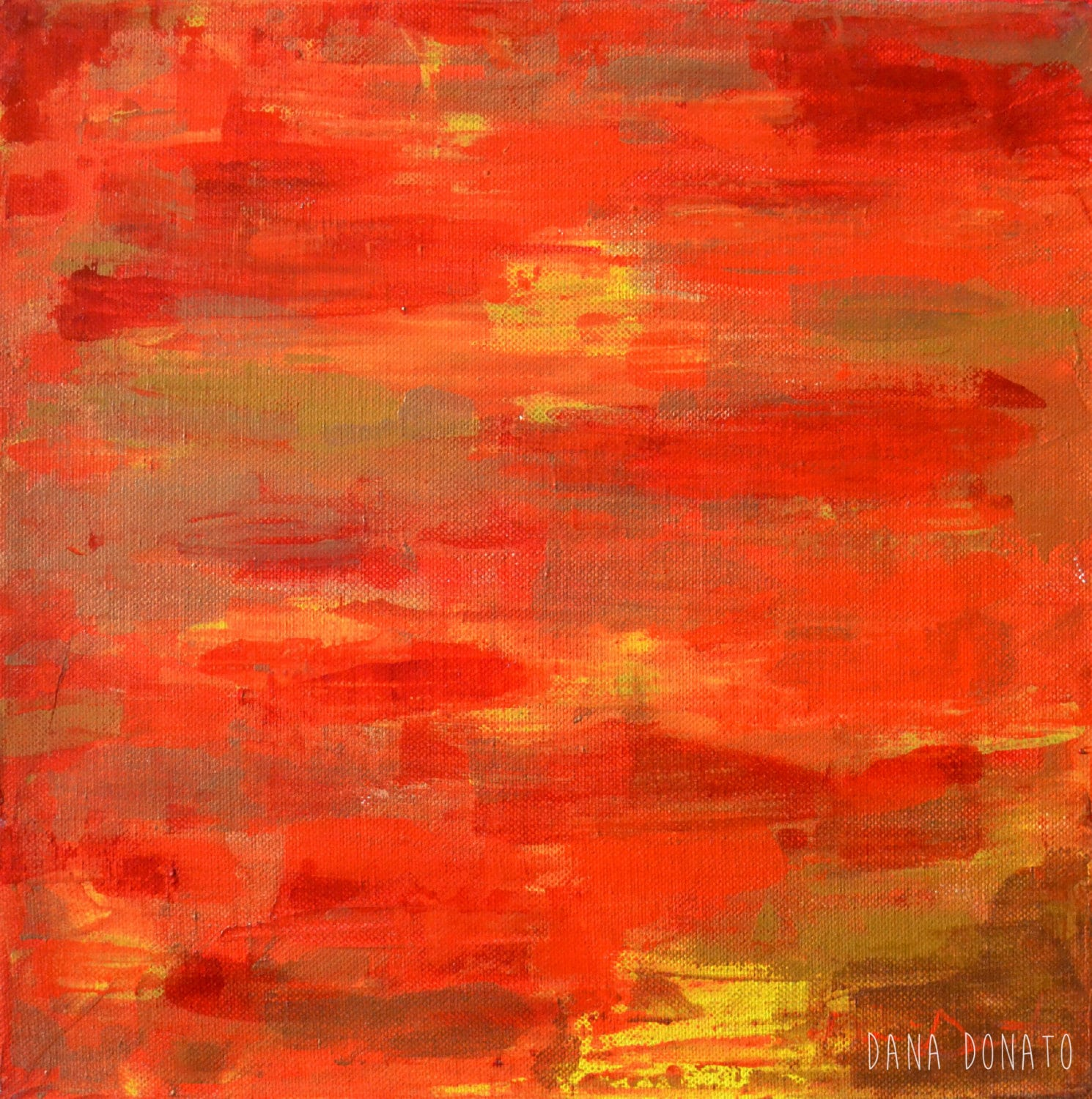 Abstract acrylic palette knife painting red orange yellow for Palette knife painting acrylic
