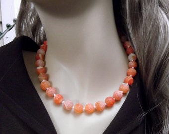 Genuine Frosted Orange Dragon Vein Necklace