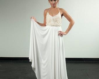 Hollywood wedding dress, Custom made blouson lace and chiffon wedding dress, New Beads Wedding dress Bridal Gown custom size 4-6-8-10
