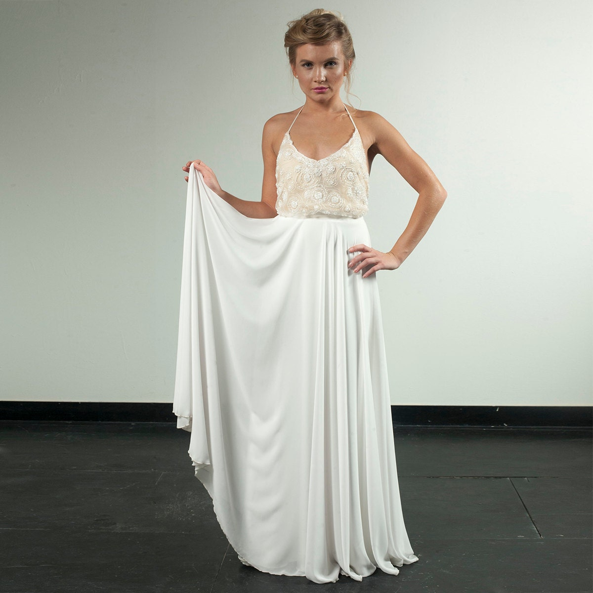 Hollywood Wedding Dress Custom Made Blouson Lace And Chiffon