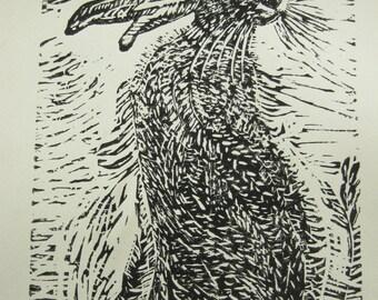 THE HARE - original Linocut print