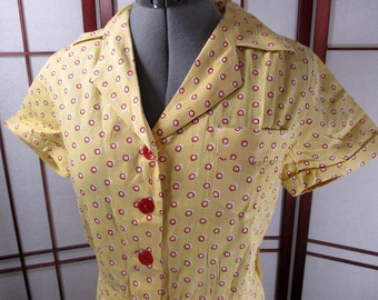 SALE Was 100 pounds Now 85 pounds 1930s bright yellow cotton playsuit with red and white polka dots.