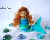 Waldorf Inspired Mermaid Peg Doll ~ Summer Doll ~ Ocean Play ~ Teal and Seafoam