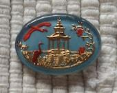 Vintage German Reverse Intaglio Glass Cabochon - Pagoda and Birds - 18 x 24 mm