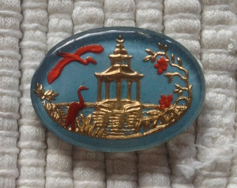 Vintage German Reverse Intaglio Glass Cabochon - Pagoda and Birds - 18 x 24 mm