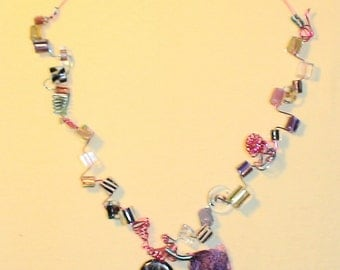 Whimsical Dichroic Furnace Bead and Artistic Wire Necklace With Matching Pendant