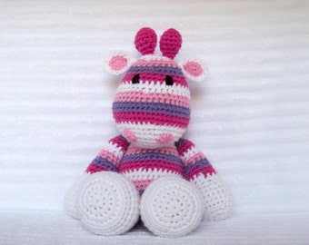 Crochet Animal, Crochet Giraffe Stuffed Animal in Pink and Purple Rainbow Stripes, Giraffe Plush, Rainbow Giraffe, Crochet Giraffe Animal