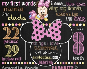 Baby Minnie Mouse Birthday Chalkboard Poster DIGITAL FILE