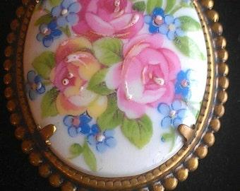 Vintage Floral Limoges Pendant