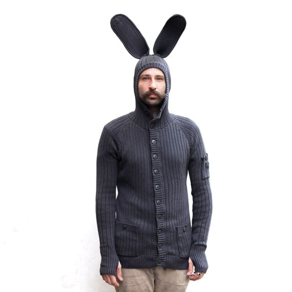 BUNNY HOODIE for Men and Women - Bendable Ears - Blamo Winter Pajamas - Rabbit Cardigan - Winter Jacket - Festival Sweater - Birthday Gift