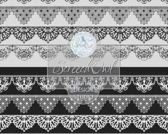 ONE DOLLAR SALE - Lace Borders, Lace Clip Art, Collage Sheet, Scrap Booking, Scrapbooking, Card Making,Paper Craft Supplies, White