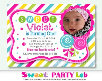 CandyLand printable Invitation , Printable Candyland Photo Digital Invitation D013