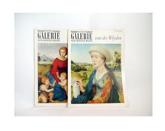 Vintage Art prints Books, renaissance books Set ofTwo/ Old Masters Paintings by Raffael, Van der Weyden