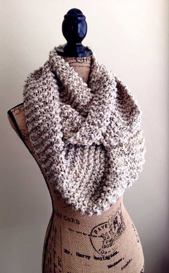 Hand Knit Chunky Infinity Scarf Womens Winter Cowl By