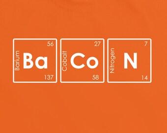 Bacon TShirt Tee Top Shirt periodic table t-shirt science geek nerd tees funny tee