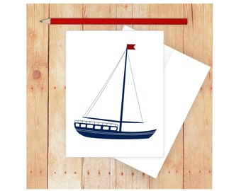 Sailboat Card, Nautical Stationery, Nautical Thank You Card, Nautical Thank Notes, Masculine Stationery, Blank Note Cards, Masculine Card