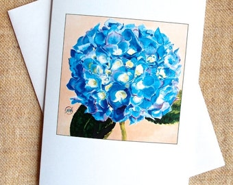 Hydrangea Pom-Pom Card Blank Card blue flower on peach background from my original painting