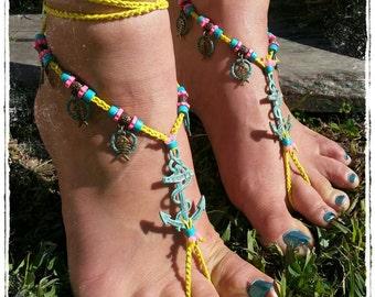 Bright and beautiful nautical barefoot Sandals. Ocean theme. Anchors. Beach Wedding. Barefoot wedding. Yoga accessories.  Hoop dance.