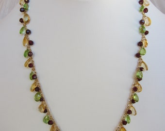 Citrine, Peridot and Garnet Handmade Necklace with 14K Gold Chain
