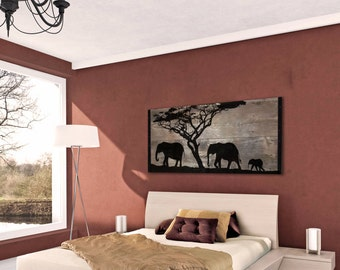 Reclaimed Wood Wall Art - Silhouette of African Elephants Large