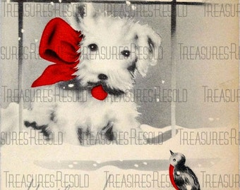 Retro Scottie Terrier Dog Christmas Card #7 Digital Download