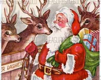 Santa and Reindeer Christmas Card #27 Digital Download