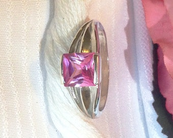 Sparkling Princess Cut Pink Sapphire Ring ~ 925 Sterling Silver ~ Size 8.5