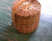 Vintage Woven Basket with Lid and Handle